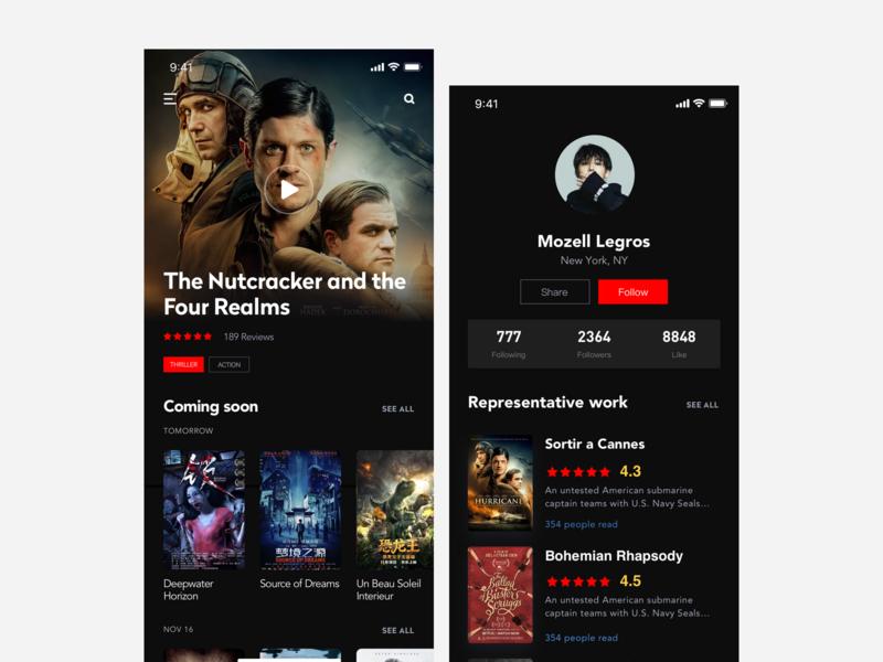 Movie application interface app ui ux design