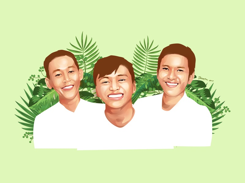 Three Musketeers with Sweets Smile floral art illustration design vector potrait