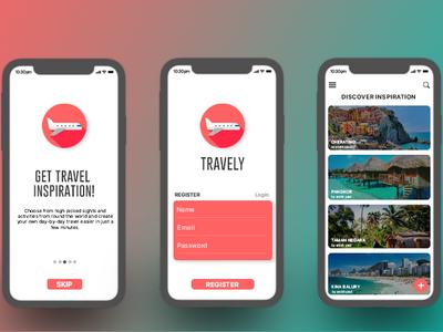 Travely app concept typography icon logo app ux ui design