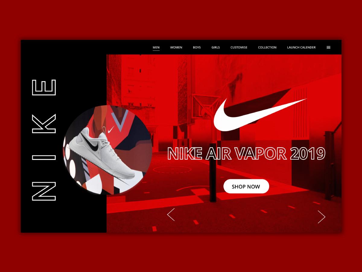 NIKE Air Vapor CONCEPT UI illustration typography branding motivation ui ux web design concept ux ui design