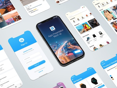 Apps Presentation Mock-up design horizontal float portrait vertical device white black iphone 11 pro iphone 11 apps desktop render touch screen mockup phone mobile ios smart phone