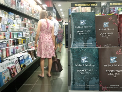 Bookstore Edition 06 dust jacket publish paperback hardback book series edition bookstore mockup in-store novel book brochure magazine