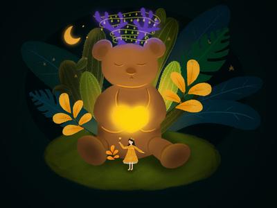 Girl and bear friend