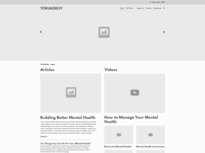 Mental health service Website wireframe