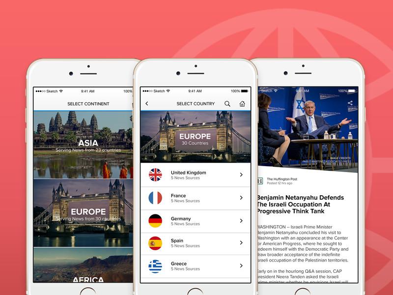 World News Application - WIP content photos interface mobile mobile app ios flat news news app ux ui app