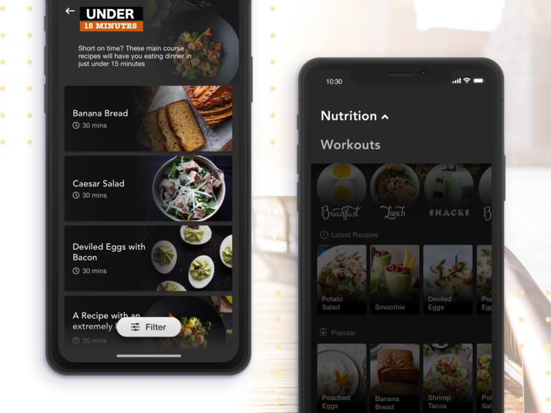 Nutrition Lists dark ux nutrition fitness ios mobile ui mobile app flat