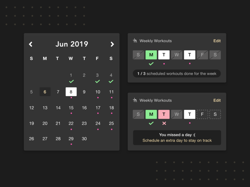 Scheduling Widgets interface fitness calendar flat ux mobile app mobile ui app ui ios