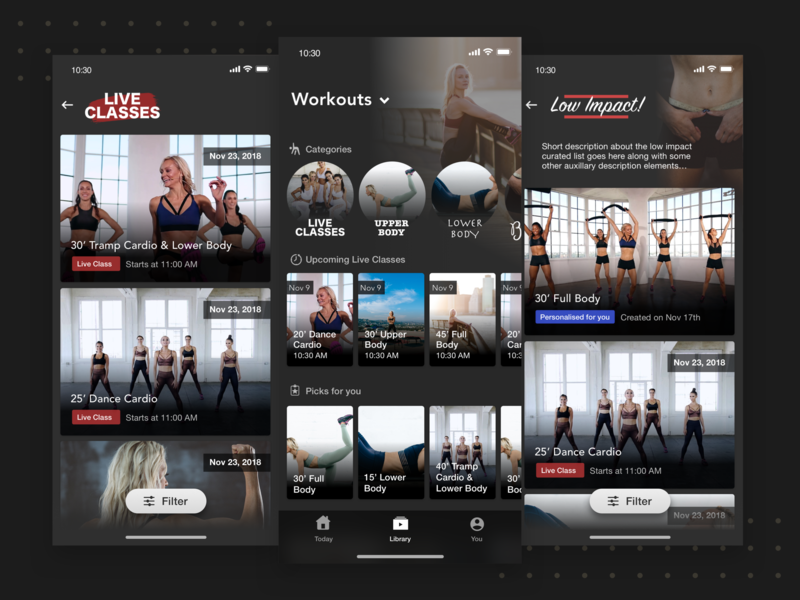 Workouts Library workouts dark fitness minimal mobile ui mobile app flat ui ios