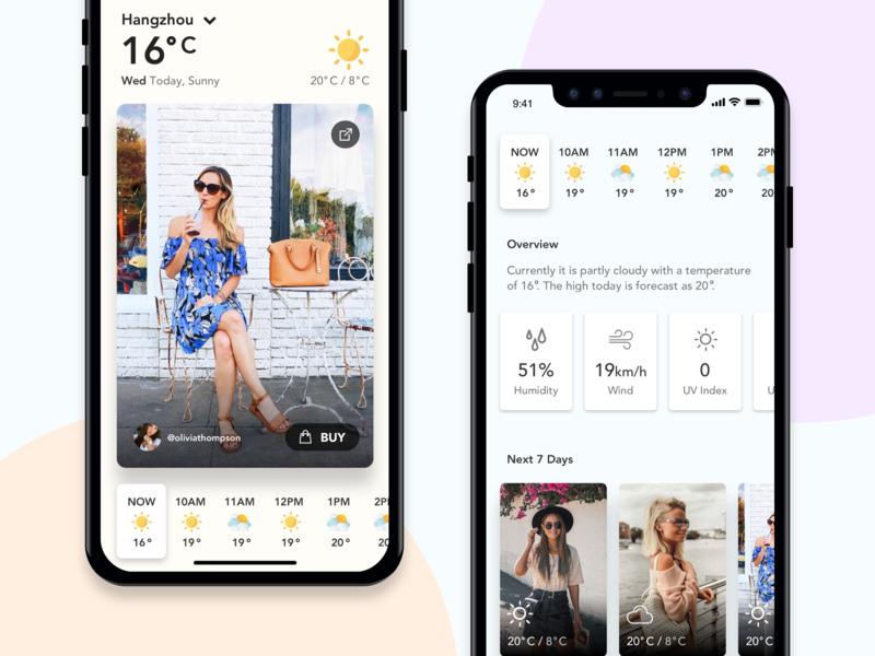 Weather OOTD #1 ios minimal mobile ui iphonex mobile app ux ui weather app fashion app