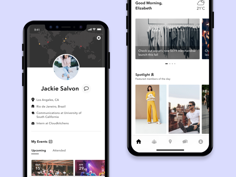 Home and Profile design minimal ux ios interface mobile ui mobile app ui