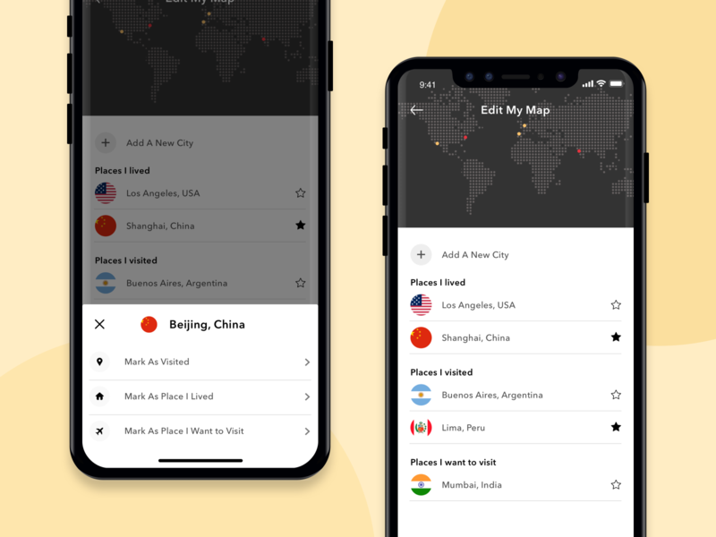 Places I visit flat design mobile interface minimal mobile ui mobile app ux ui ios