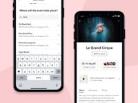 Events design interface app minimal mobile ui ios mobile app ui ux flat
