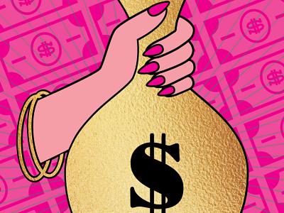 Ms. Money Bags feminist money bag dollar bill dollar gold money