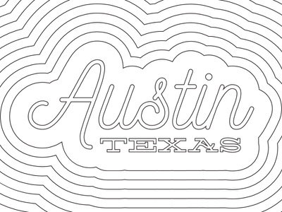 Austin, Texas texas atx lines typography coloring book austin
