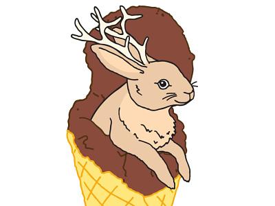 Dollop rabbit bunny ice cream jackalope