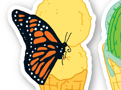 Can I Have A Taste? illustration monarch butterfly ice cream