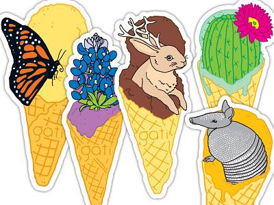 Ice Cream Critters Sticker Set sticker design bluebonnet butterfly armadillo cactus jackalope ice cream texas