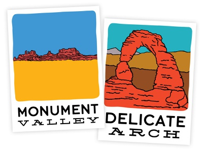 Adventure Stickers arizona utah arches delicate arch monument valley