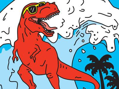 Surfing T-Rex dinosaur t-rex surfing