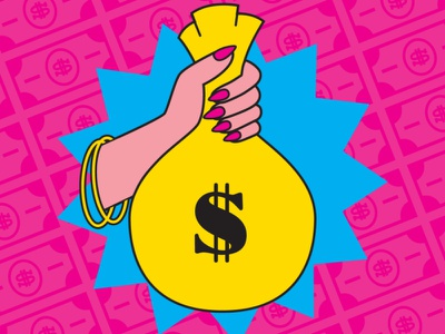 Ms. Money Bags money bag hand money feminist art feminist