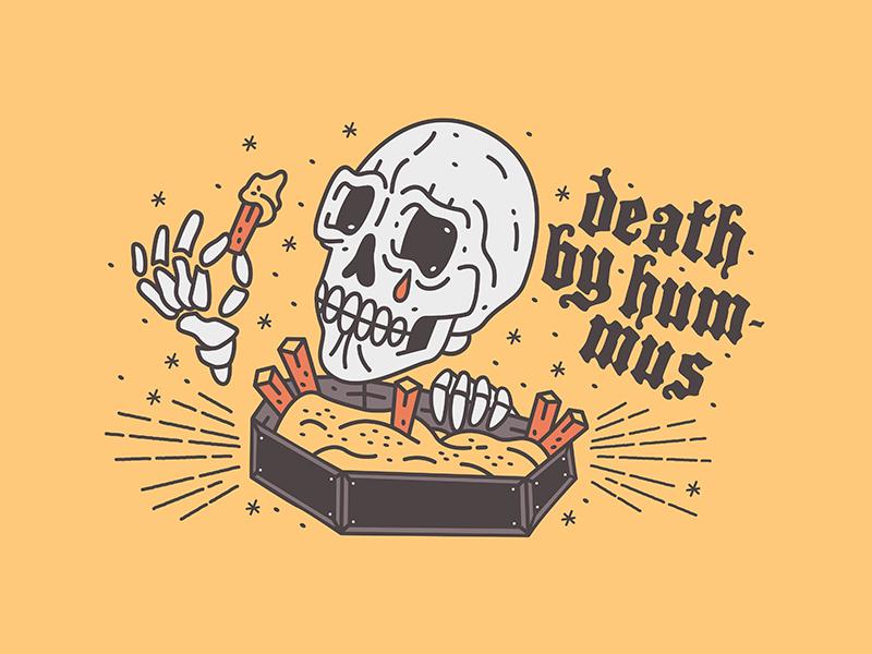 Death by hummus typography hummus stars waikiki tattoo art illustration design
