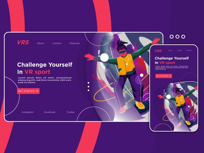 VR sport Game landing page concept fresco debut app login box illustrator illustration flatillustration design website vector ui