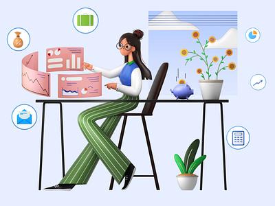 Lady Accountant 3D Illustration 3d art 3d graphic 3d illustration office assistant office work work from home lady work from home lady sit lady chair accountant lady accountant
