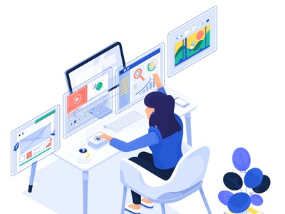 Creative office lady illustration