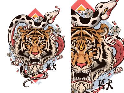 Tiger Snake Vector