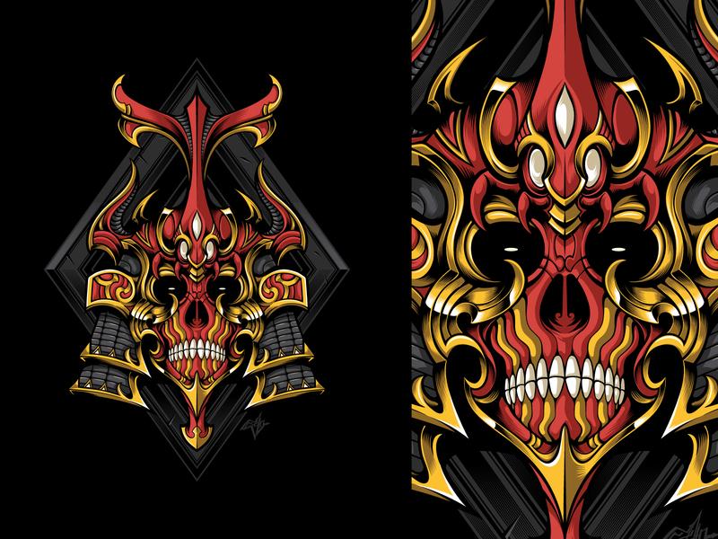 The Assassin Skull Vector warrior samurai red gold sacred geometry geometrical geometric ornamental ornament kabuto japanese helmet japanese art japan skull ornament skull art skull illustration skull