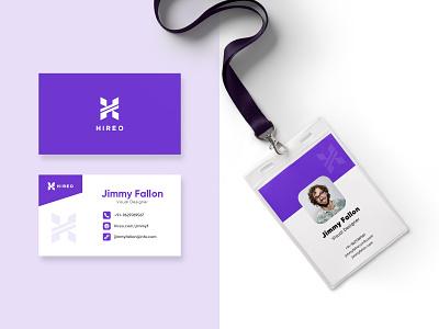 HIREO - Branding Elements businesscard id card design typography branding flat practicing illustration illustraor vector design