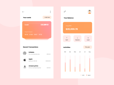 Financial app concept gradient colours ui design debitcard credit card payment credit card cards fintech finance ui vector design