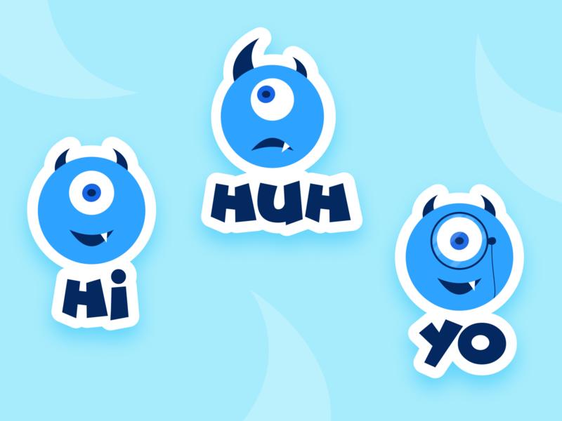 For stickermule minimal illustration coaster sticker cute monster character vector illustraor