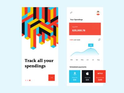 Track your spendings cube isometric app design payment colours app ui app spendings