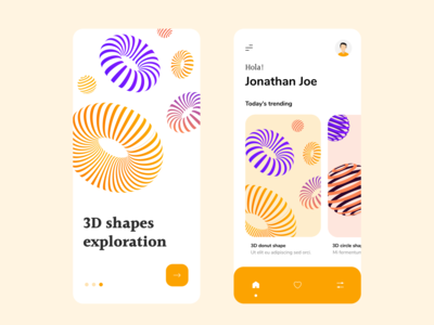 3d shapes exploration app concept colours vector stripes donut 3d illustrator design