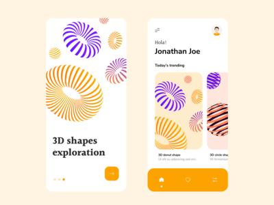 3d shapes exploration app concept colours vector stripes donut 3d illustrator design