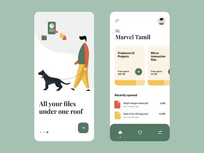 File storage app concept storage files dog walker mobile app mobile ui ui typography colours branding flat illustration illustraor vector design