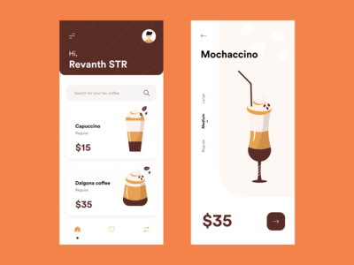 Coffee order app concept minimal colours flat illustration coffeebean coffee branding ui typography vector illustraor design