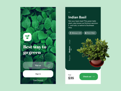 Plant app conept green go green pot plant plant mobile ui branding colours typography vector design