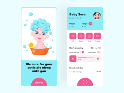 Baby care app concept ui design colours cute monitor baby care baby mobile app design mobile app uiux mobile ui mobile