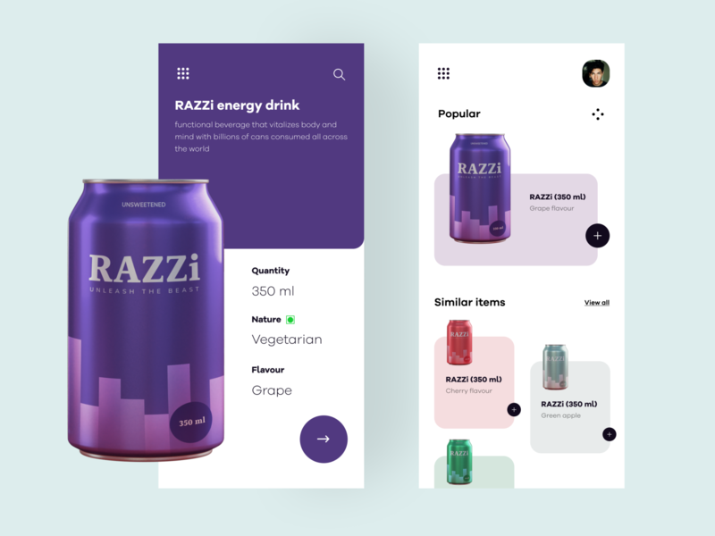 RAZZi drinks mobile UI concept packagedesign mobile uiux ui colours order online drinks package packaging illustraor vector design