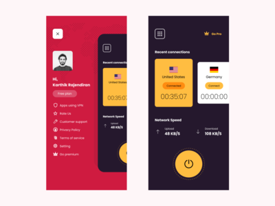 VPN mobile app UI global vpn minimal typography practicing ux ui colours design