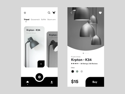Buy lamps online mobile UI concept shopping app lamp light ecommerce shopping minimal ui typography branding practicing design