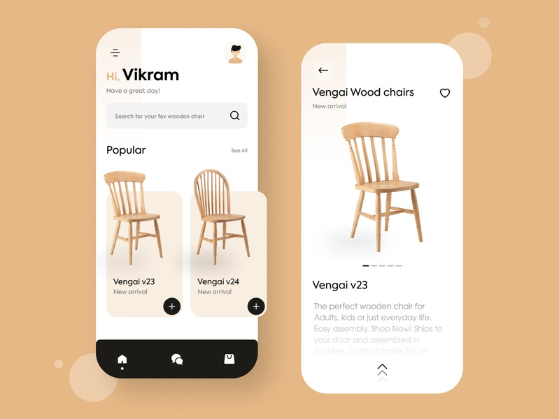 Wooden chair online buy app concept mobile app chairs uiux mobile ui chair mobile colours minimal typography ui ux branding flat practicing design