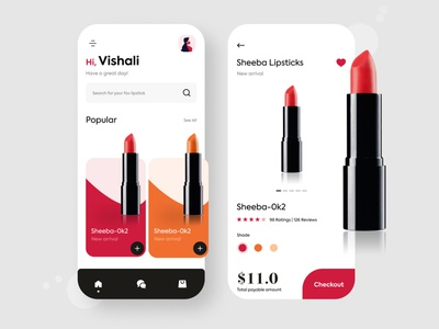 Lipstick online shopping app exploration color colors shades shade colour minimalistic minimal lipstick ui  ux uiux ui design uidesign mobile ui design mobile uiux mobile ui design