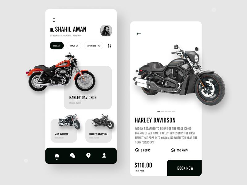 Bike rental app exploration minimal design rental app rent cruiser bikes rugged modern minimal art colours typography branding practicing design