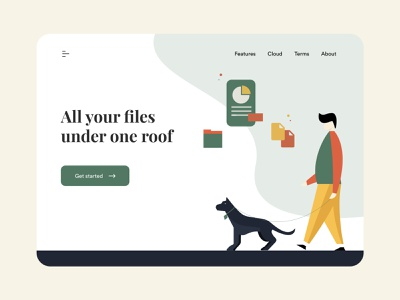 File storage - Landing page design sheets document file manager files colours minimal typography flat branding illustraor illustration vector design