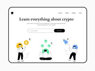 Learn Crypto - Web design cryptocurrency crypto exchange crypto website design web ui ux website web ui design web ui web design vector illustraor illustration minimal ui typography flat colours branding practicing design