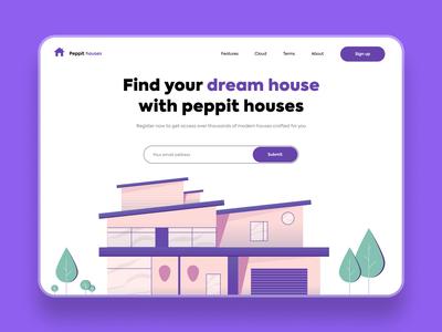 Find your dream house - Web design vector illustration minimal colour branding typography web website design web ui website house house illustration home page practice illustrator illustration vector design