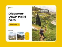 Peppit hiking - Web design explorations explorer travel web ui design web ui hiking web minimal ui colours typography practicing design branding